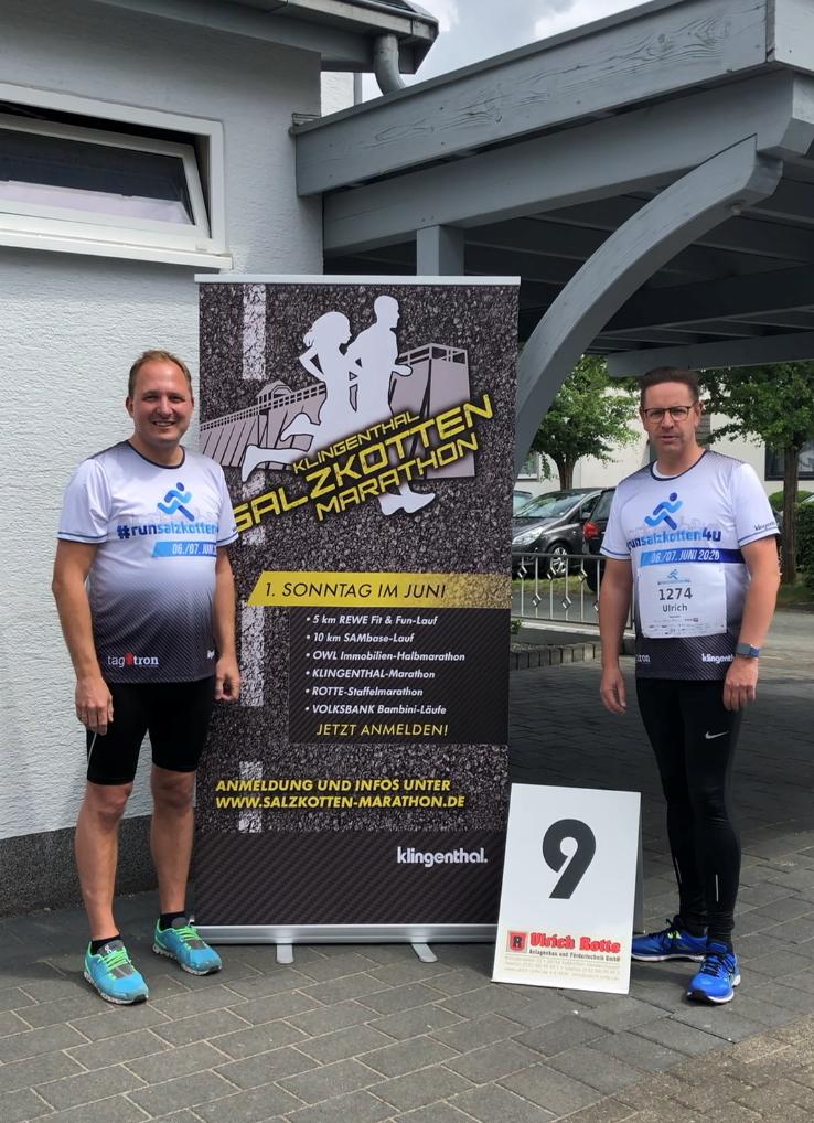 Organisations-Chef Sascha Wiczynski und Bürgermeister Ulrich Berger ziehen positives Fazit des #runsalzkotten4u.